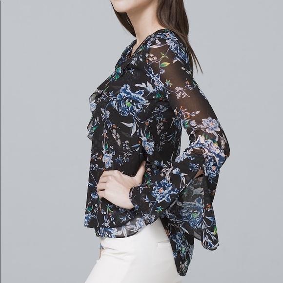 db85e49913c9 WHBM black floral ruffle high low blouse B10. M_5c2ba7f46a0bb70193eea8d3